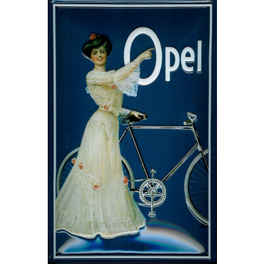 Opel - lady with bicycle-(20x 30cm)