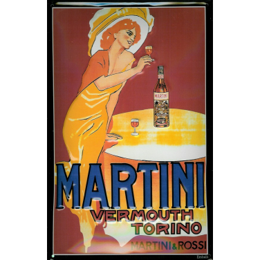Martini&Rossi - Lady with glass-(20x30cm)