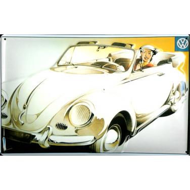 VW-Frau im Cabriolet-(20 x 30cm)